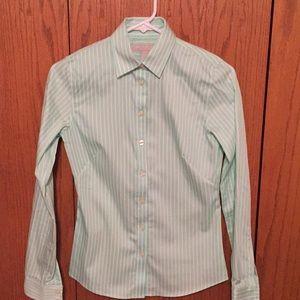 Banana Republic green striped button up shirt